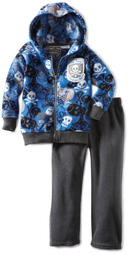 Little Rebels Little Boys' 2 Piece Skulls Fleece Pant Set