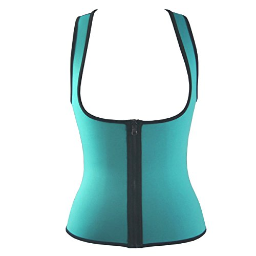 QianSheng Deportes al aire libre Ultra Sweat Fitness apretado chaleco reversible Cincher Cintura Entrenador Cinturón Mujeres Underbust corsé Shapewear Azul
