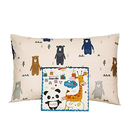 Toddler Pillowcases Alasville 100% Organic Cotton Shell 13x18 Soft Washable Pillow Cases for Kids Dust Mite & Allergy Control Baby Pillow Cover Cases(Cute Bear)