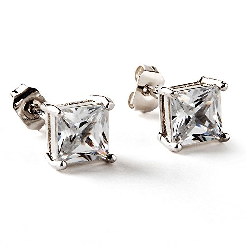 Luvami 18k White Gold Cubic Zirconia Stud Earrings