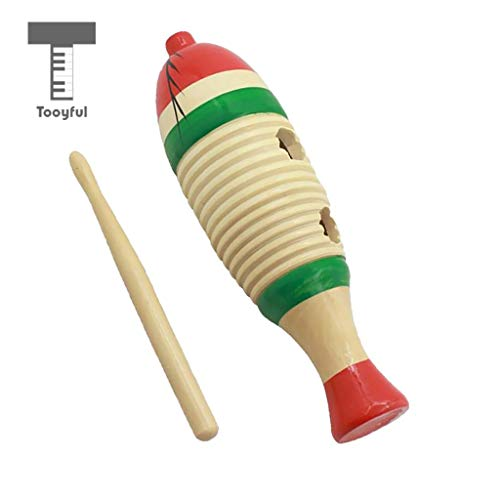 Value-5-Star - Vintage Wooden Fish-Shaped Guiro with Scraper Percussion Instrument for Children Rattle Toys Gift Craft - Fish Shaped Guiro