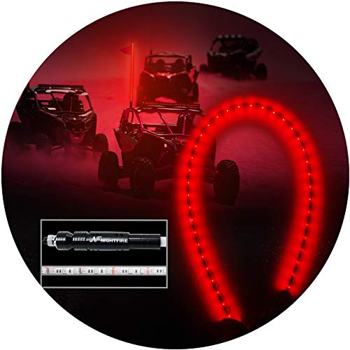 NF NIGHTFIRE 5FT LED Whips Red Lighted Whips for RZR ATV Flag Poles UTV Antenna Quad Whips w/Quick Disconnect Fit Motorcycle 4wd Offroad Truck Boat (One Whip)