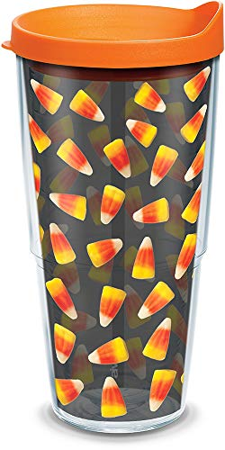 Tervis 1204233 Candy Corn Insulated Tumbler with Wrap and Orange Lid, 24oz, Clear