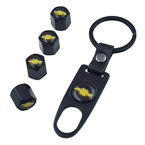 INCART Universal Steel (4pcs) Car Tire Valve Stem Air Caps Cover + (1pcs) Keychain for Chevrolet Chevy Black
