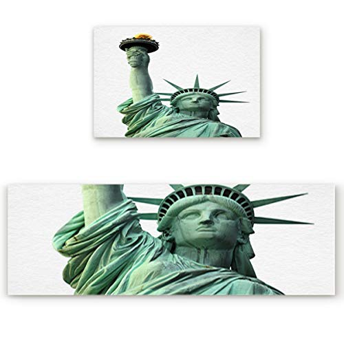 2 Piece Non-Slip Kitchen Mat Runner Rug Set Doormat Statue of Liberty Door Mats Rubber Backing Carpet Indoor Floor Mat (19.7