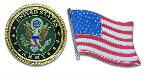 - Novel Merk Patriotic U.S. Army & American Flag Lapel or Hat Pin & Tie Tack Set with Clutch Back