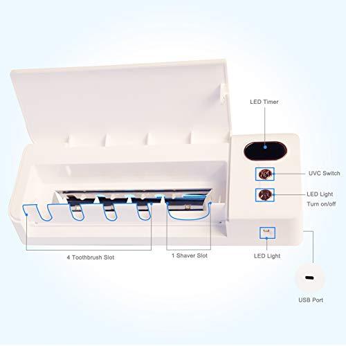 Toothbrush Holder Sanitizer, USB Charging Toothbrush Holder Wall Mounted Bathroom 4pcs Led Chips Toothbrush Box with Led Flashlight, Light Sterilizer for Razor Shaver Toothbrush Holder