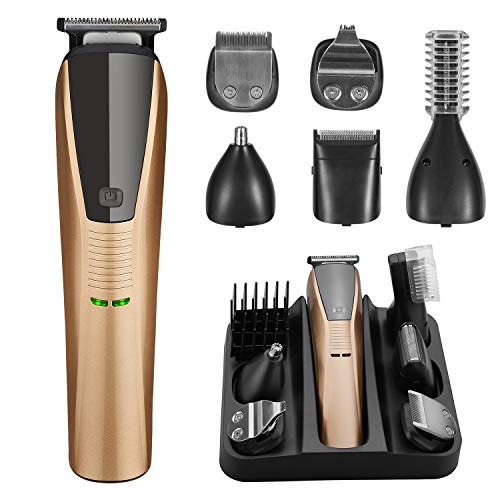 Beard Trimmer 6 in 1 Trimmer for Men Cordless Hair Clippers Mustache Trimmer Nose Hair Trimmer Waterproof USB Fast Charging Low Noise