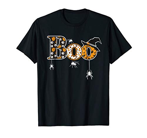 Boo Halloween T-Shirt With Spiders And Witch Hat]()