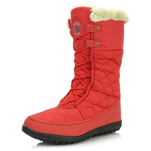 DailyShoes Women's Comfort Round Toe Mid Calf Flat Ankle High Eskimo Winter Fur Snow Boots, 8.5 Red -