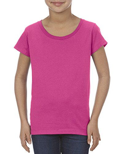 Alstyle Apparel AAA Big Girls' Youth Ultimate Ringpsun T-Shirt, Hot Pink, - Stretch Jersey Sleeve Pima