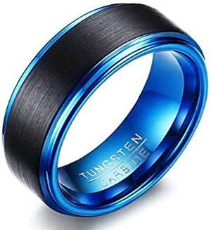 خاتم للجنسين أزرق من الداخل وأسود مع حواف زرقاء على الخارج مصنوع من التنجستين مع ختم داخلي مقاس 7