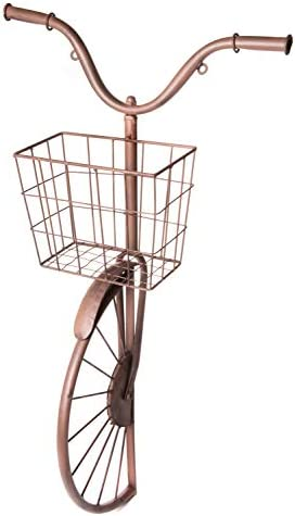 Metal Bicycle Sculpture with Basket, Country Rustic Decorative Wall Planter, Storage Art D cor Centerpiece, 17 x 30