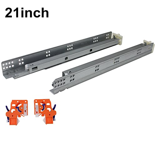5 Pairs Self Soft Close Under/Bottom Rear Mounting Drawer Slides 21 inch Concealed Drawer Runners;Locking Devices;Rear Mounting Brackets;Screws and Instructions Slide Mounting Screws