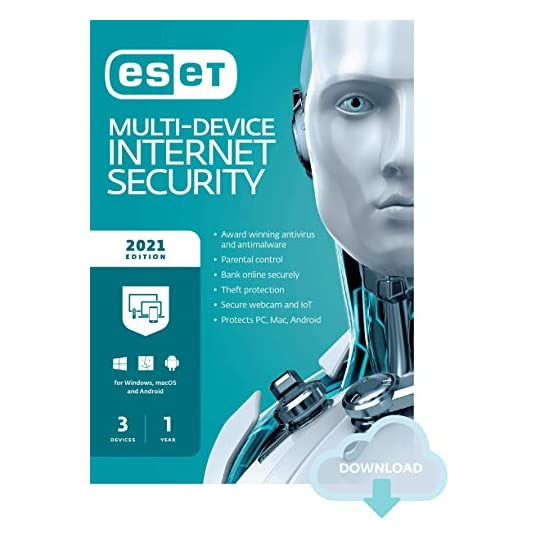ESET Multi-Device Internet Security | 2021 Edition | 3 Devices | 1 Year | Antivirus Software | Parental Control…