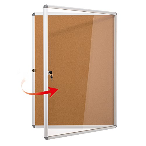 SwanSea Enclose Bulletin Board Case School Cork Noticeboards Cabinet with Mounting Screws 38×28 inch (Enclosed Bulletin Board Cabinet)