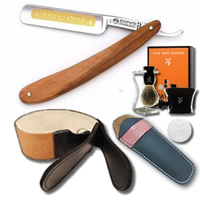 DOVO Straight Razor Set 5/8 Olivewood Scales and Luxury Shave Set
