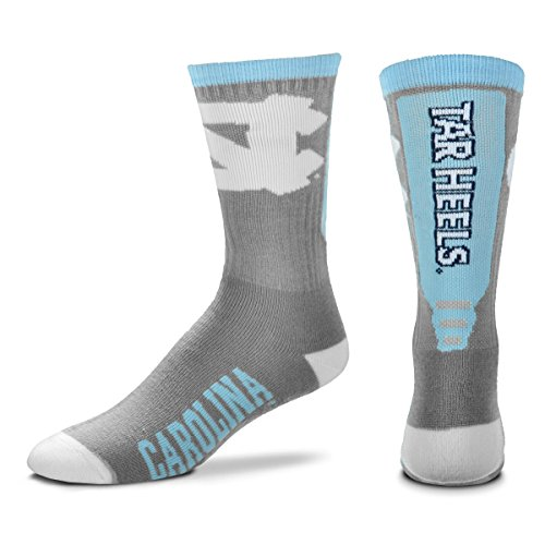 For Bare Feet NCAA Mens Cool Gray Jump Key Crew Socks-North Carolina Tar (University North Carolina Tar Heels Basketball)