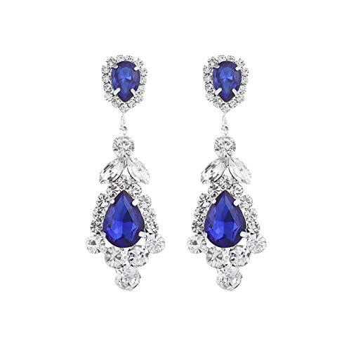 Rosemarie Collections Women's Statement Crystal Rhinestone Teardrop Chandelier Hypoallergenic Post Earrings (Sapphire Blue) -