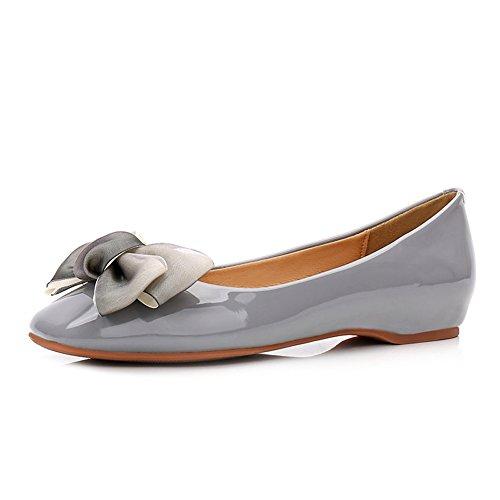 T-juli Dames Casual Strik Slip-on Penny Loafers Platte Schoenen Shiny Comfort Klassieke Jurk Schoenen Grijs