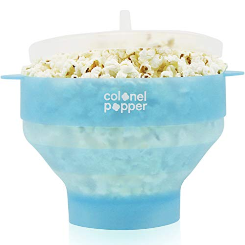 Colonel Popper Popcorn Popper Silicone Microwave Popcorn Maker Air Popper (Glacier Blue) (Best Way To Store Popcorn)