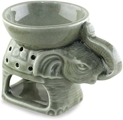 NOVICA Decorative Ceramic Animal Themed Incense Holder, Green Welcome Elephant