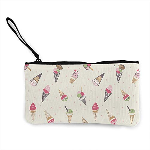 (Oomato Canvas Coin Purse Ice Cream Cosmetic Makeup Storage Wallet Clutch Purse Pencil)