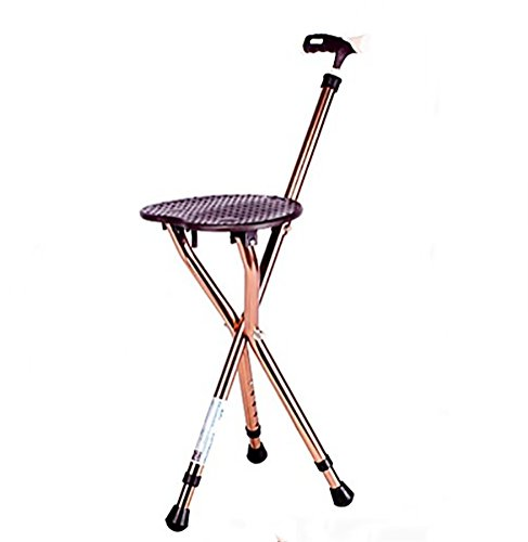 RUIRUI Folding Lightweight Adjustable Height Cane Seat , brown - Folding Cane Stool