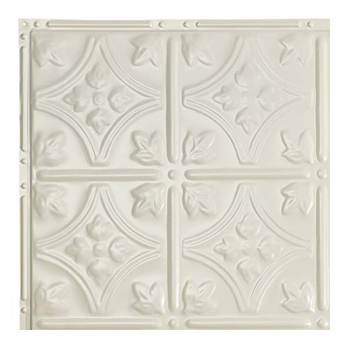 Great Lakes Tin Hamilton Antique White Nail-Up Ceiling Tiles - 12in x 12in Sample - Choose from 11 Perfect for DIY and Home Renovation Projects - Easy to Install (Backsplash Tin Pressed)