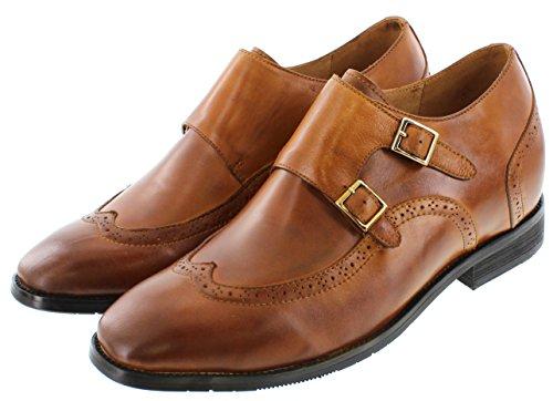 calto–g1087–7,6cm Grande Taille–Hauteur Augmenter Chaussures ascenseur (en cuir marron à enfiler wing-tip)
