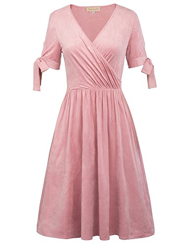 Women's Knee Length Cocktail Dress V-Neck Short Sleeves Pink M,KK829-2