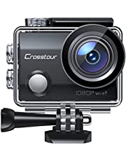 """$29 » Action Camera CT7000 Full HD Wi-Fi 12MP PC Webcam Waterproof Cam 2"""" LCD 30M Underwater 170°Wide-Angle Sports Camera with 2 Rechargeable 1050mAh Batteries and Mounting Accessory Kits"""