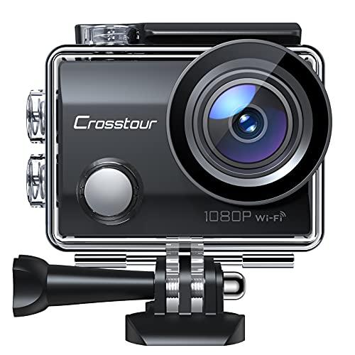 """Crosstour Action - Cámara Deportiva (Wi-Fi, 12 Mpx, Full HD, Sumergible, Pantalla LCD de 2"""", Gran Angular de 170°, con 2 baterías de 1050 mAh y Kit de Accesorios)"""
