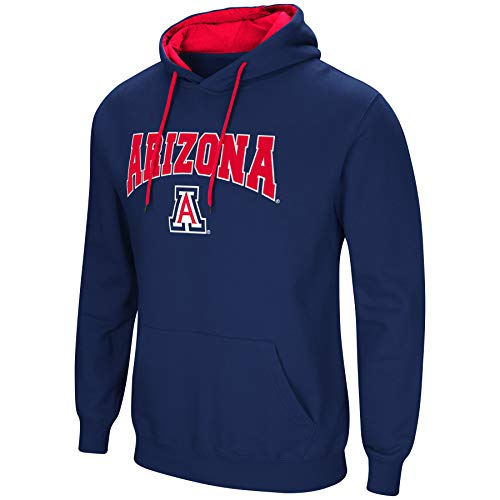 Cat Logo Mens Sweatshirt - Colosseum NCAA Men's-Cold Streak-Hoody Pullover Sweatshirt with Tackle Twill-Arizona Wildcats-Navy-Large