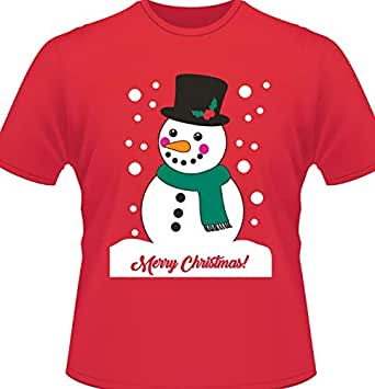 White snowman pattern T-Shirt Short Sleeve Red woman Top T-Shirt Merry Christmas Print T-Shirt