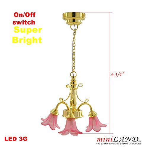 3 Arm Tulip - Brass LED 3-Arm Down Tulip Chandelier light LED Super bright On/off switch Pink dollhouse miniature 1:12 scale