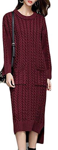 Jaycargogo Cou À Manches Longues Chemise Des Femmes En Forme Flare Longue Robe Midi Avec Des Poches Vin Rouge