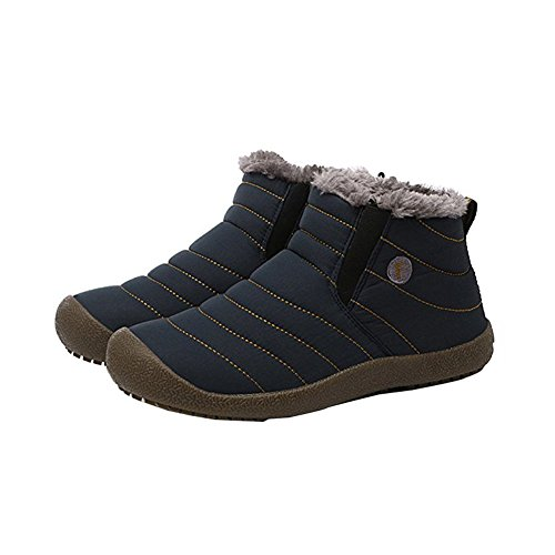 [ZHIHONG Women Men Unisex Couple Snow Boots With Fur Fashion Winter Shoes (7D(M)US-MEN, Nary blue)] (Furry Boots Cheap)