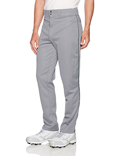 Wilson Men's Classic Relaxed Fit Piped Baseball Pant, Grey/Dark Green, Large
