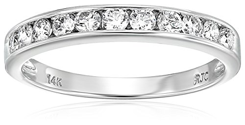 Vir Jewels Certified I1-I2 1/2 cttw Classic Diamond Wedding Band 14K White Gold Channel Size ()