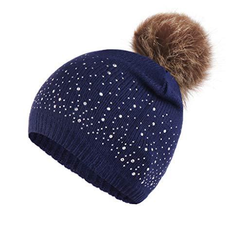 Malltop Knitting Wool Hemming Autumn Winter Caps Rhinestone Keep Warm Casual Solid Hairball Hats Ladies
