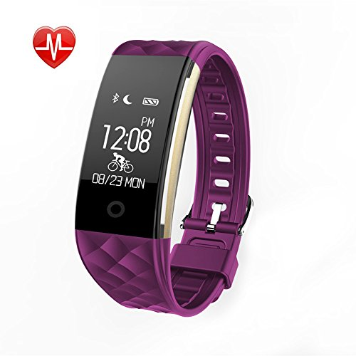 Fitness Tracker Heart Rate Monitor Activity Health Tracker Waterproof Smart Wristband Band with Pedometer Sleep Monitor Step Calorie Counter Bluetooth Bracelet for Swimming Bicycling (Purple)