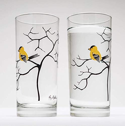 Yellow Finch Drinking Glasses - Set of 2 Yellow Bird Glasses, Bird Lovers Glassware, Gift for Her (Birds Lover Of)