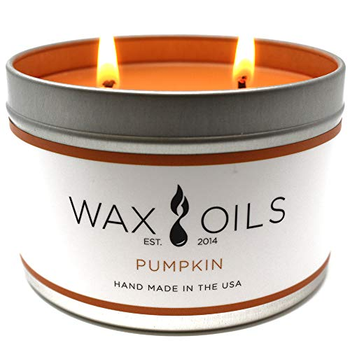 Wax and Oils Soy Wax Aromatherapy Scented Candles (Pumpkin) 16 Ounces. Single