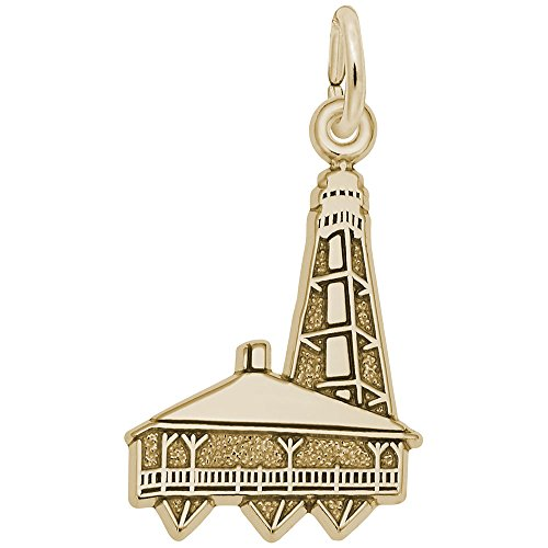 Lighthouse Charm Gold Plated - Gold Plated Sanibel Lighthouse, Fl Charm, Charms for Bracelets and Necklaces