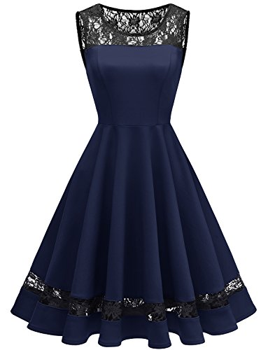 Gardenwed Women's 1950s Sleeveless Floral Lace Cocktail Swing Dress Vintage Winter Party Dress Navy M