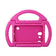 Kids Proof Samsung Galaxy Tab 3/P3200 Lite Case Durable Silicone Protective Cases with Carrying Steering Wheel for Samsung Galaxy Tab3 Lite Tablet 7 Inch Screen NOT Fit For 8 Inch (rose red)
