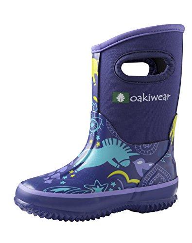 [Children's Neoprene Rain/Snow Boots, Purple Unicorn 2] (Neoprene Rubber Boots)