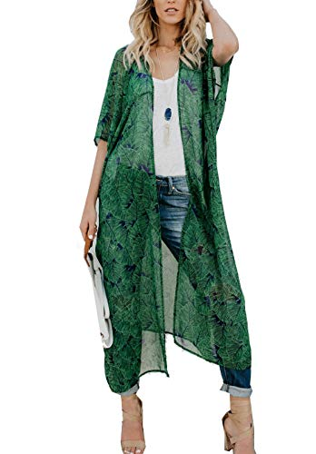 casuress Women's Sheer Chiffon Blouse Tops Kimono Cardigan Floral Loose Cover Ups Outwear Plus Size (Medium, Green)
