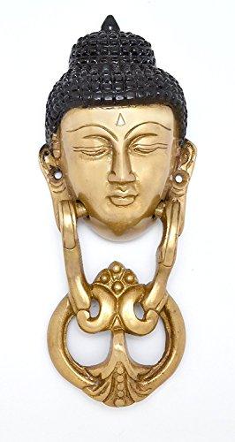 CraftVatika Brass Buddha Face Door Knocker Statue - Solid Brass - Vintage Style Pull Door Ring